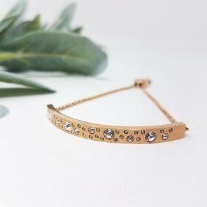 MICHAEL KORS Rose Gold Rhinestone Slider Bracelet
